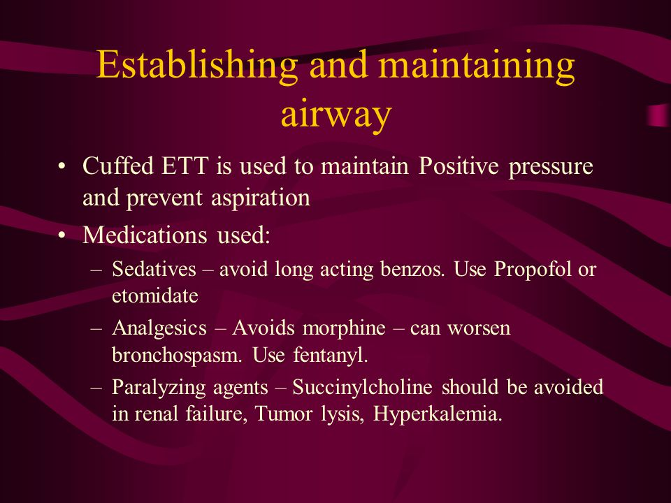 Establishing and maintaining airway