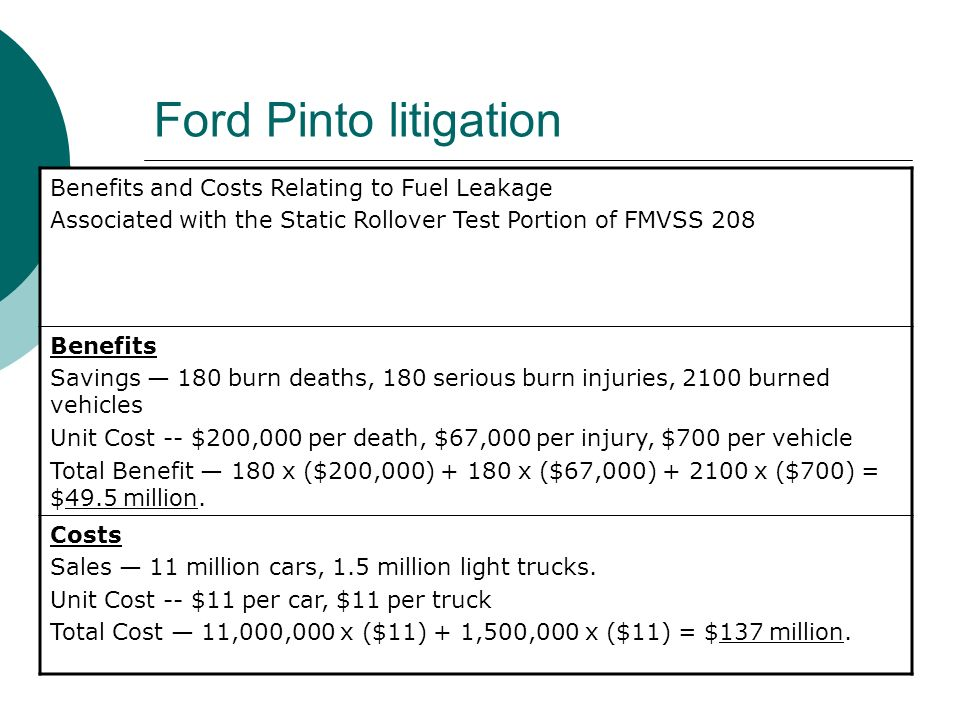 Ford Pinto litigation Benefits and Costs Relating to Fuel Leakage