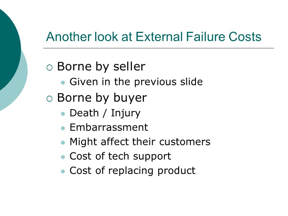 Another look at External Failure Costs