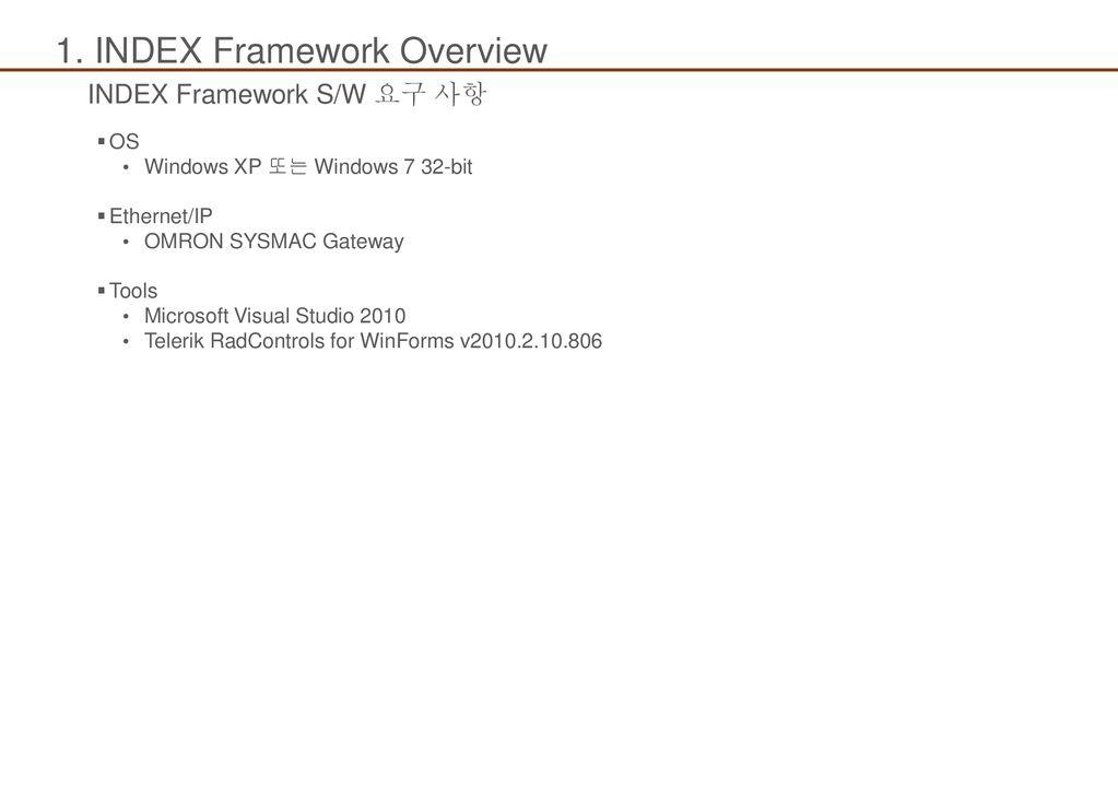 교육 내용 OMRON SYSMAC Gateway(SGW) 설치 INDEX 제어 프로그램