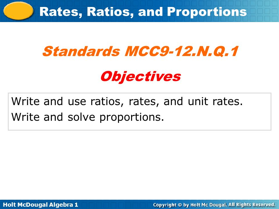 Standards MCC9-12.N.Q.1 Objectives