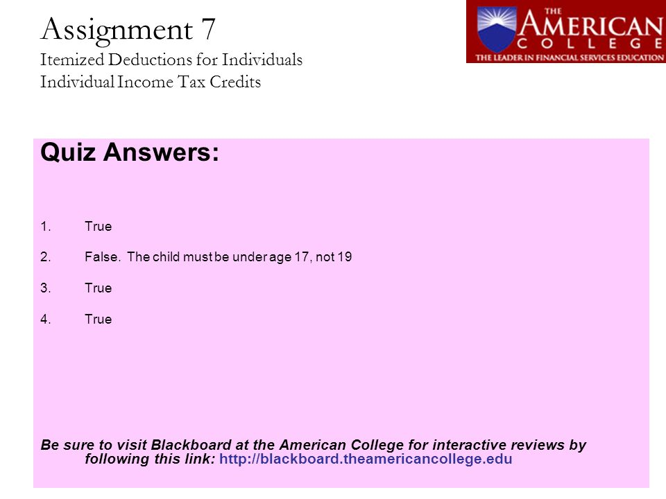 Assignment 7 Itemized Deductions for Individuals Individual Income Tax Credits