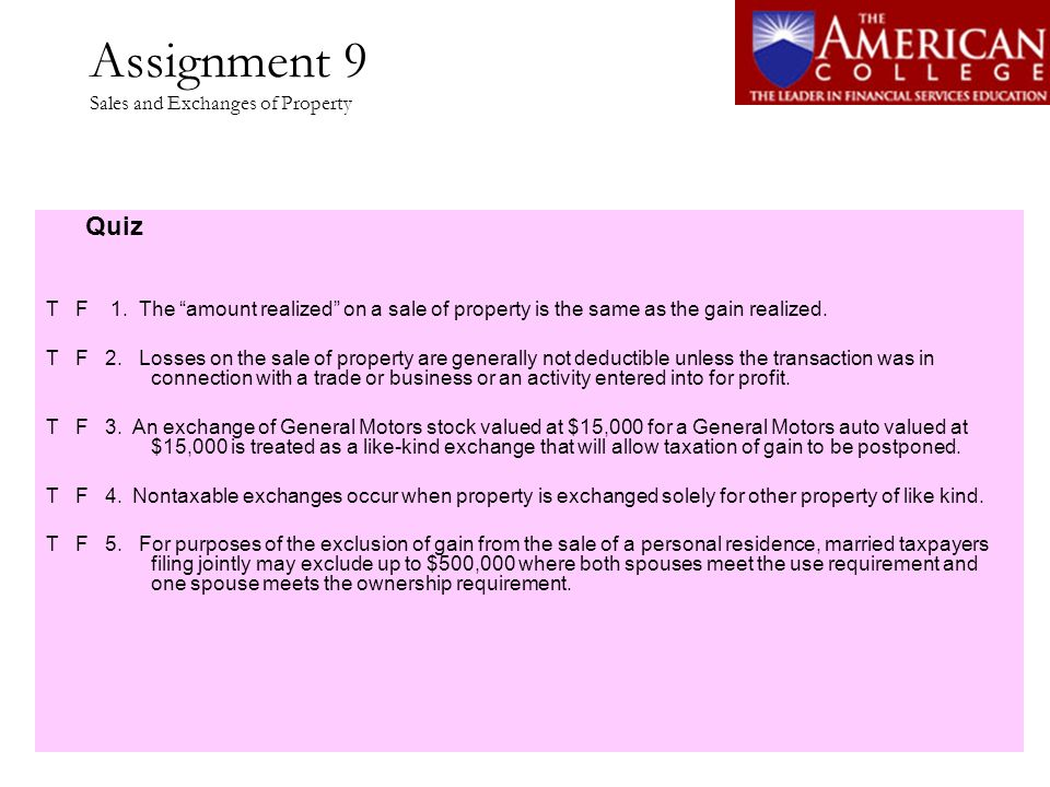 Assignment 9 Sales and Exchanges of Property
