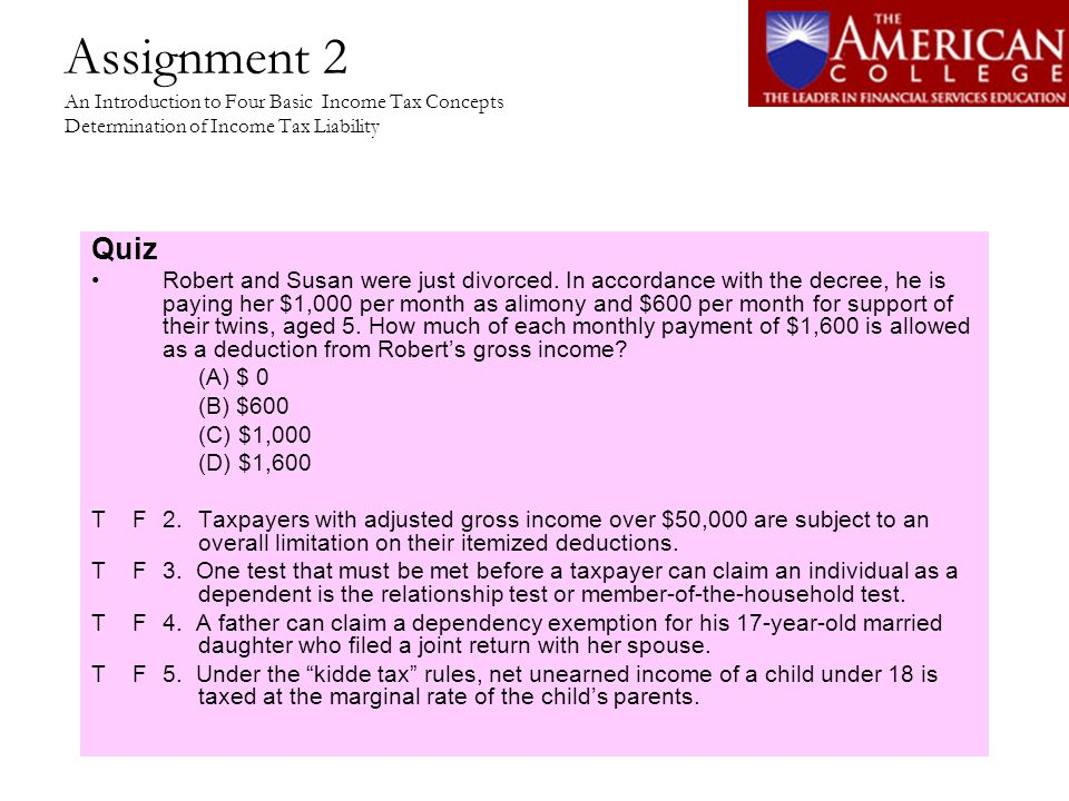 Assignment 2 An Introduction to Four Basic Income Tax Concepts Determination of Income Tax Liability