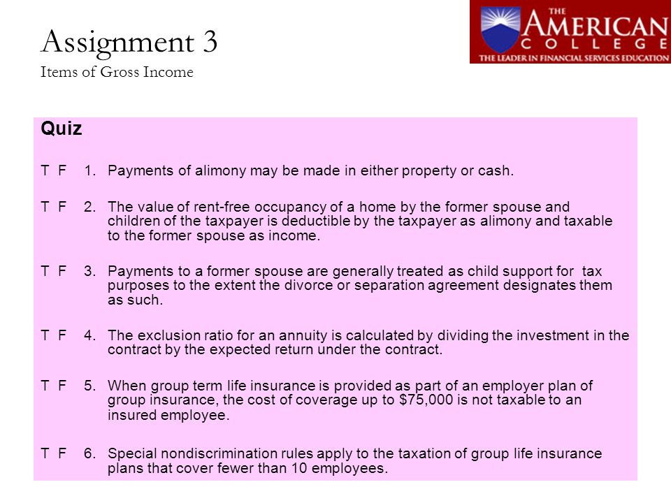 Assignment 3 Items of Gross Income