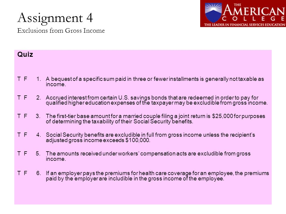Assignment 4 Exclusions from Gross Income
