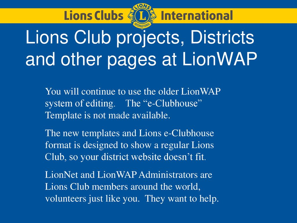 Converting your LionWAP Web site to the new Lions e