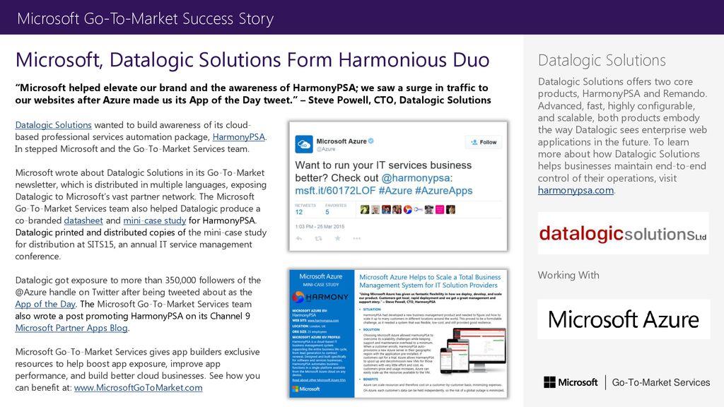 Microsoft, Datalogic Solutions Form Harmonious Duo - ppt