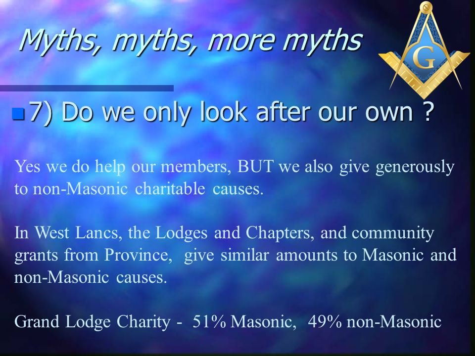 Myths, myths, more myths 7) Do we only look after our own