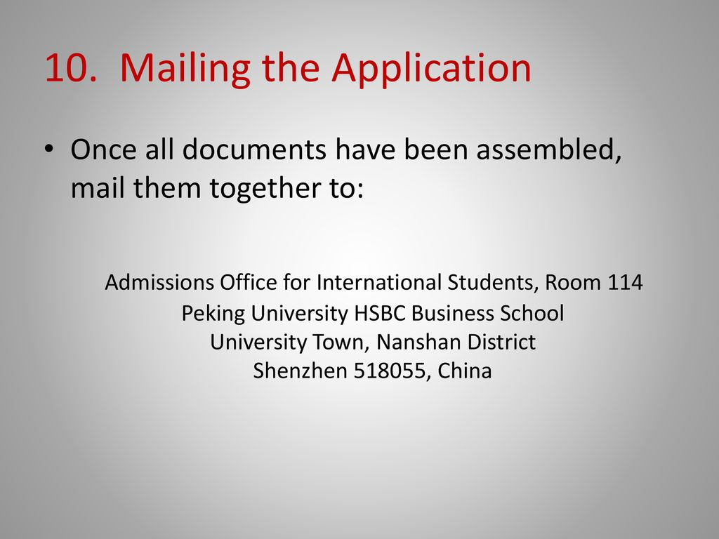 Applying to Peking University HSBC Business School - ppt