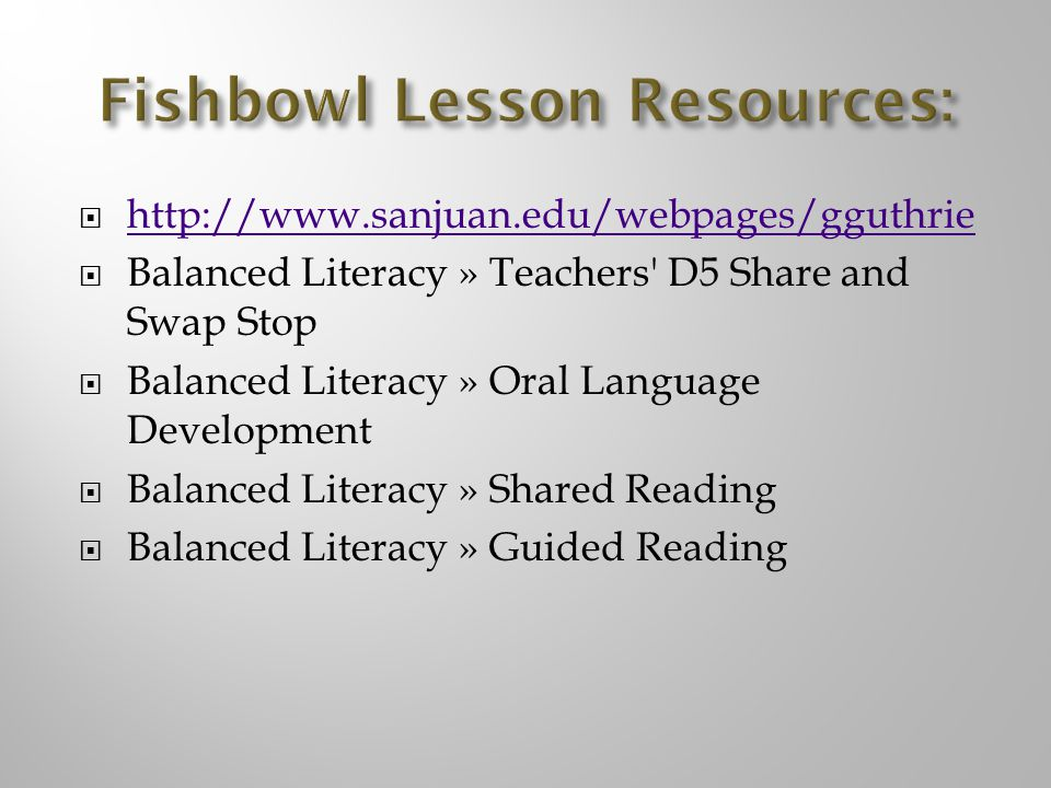 Fishbowl Lesson Resources: