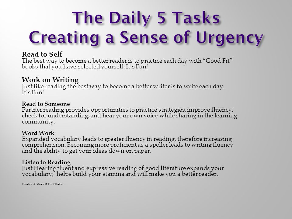 The Daily 5 Tasks Creating a Sense of Urgency