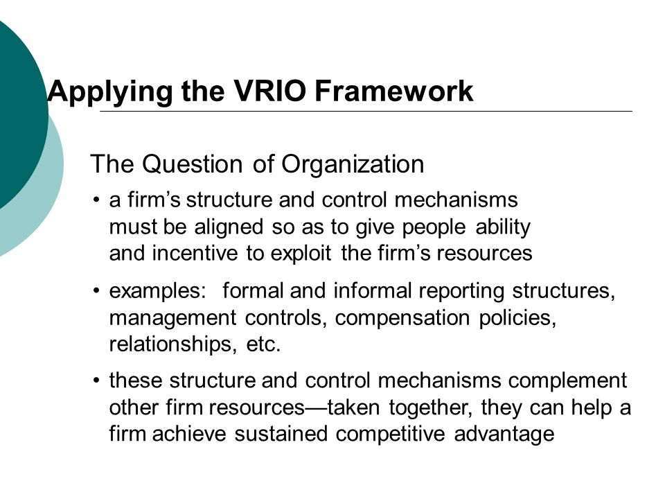 Applying the VRIO Framework