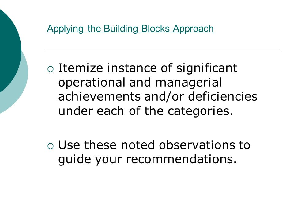 Applying the Building Blocks Approach