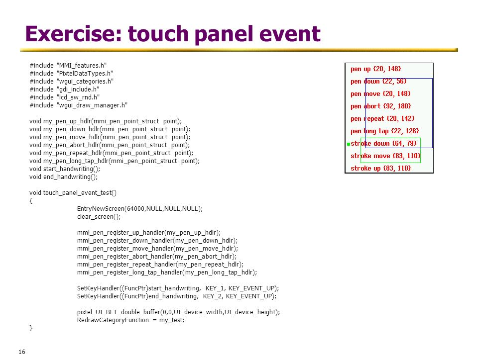 Exercise: touch panel event