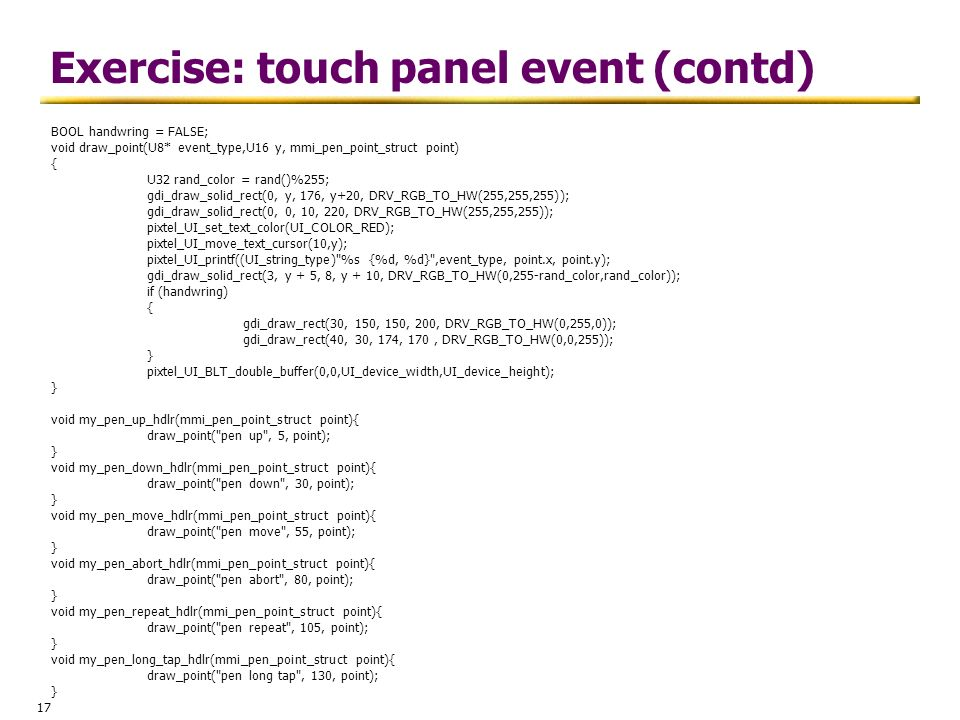 Exercise: touch panel event (contd)