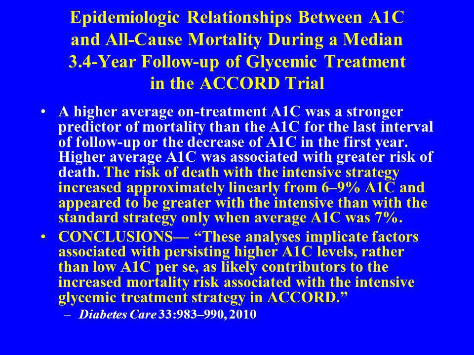 Epidemiologic Relationships Between A1C and All-Cause Mortality During a Median 3.4-Year Follow-up of Glycemic Treatment in the ACCORD Trial