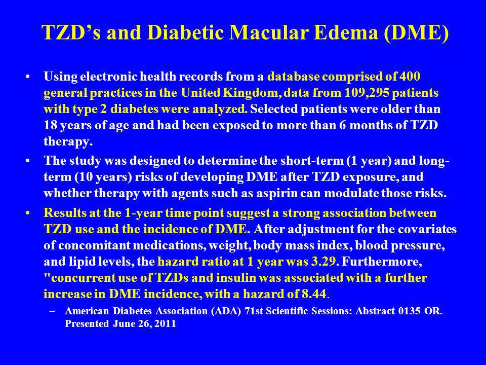 TZD's and Diabetic Macular Edema (DME)