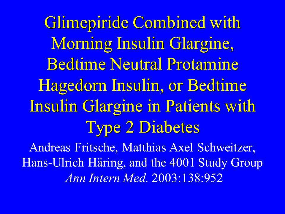 Glimepiride Combined with Morning Insulin Glargine, Bedtime Neutral Protamine Hagedorn Insulin, or Bedtime Insulin Glargine in Patients with Type 2 Diabetes