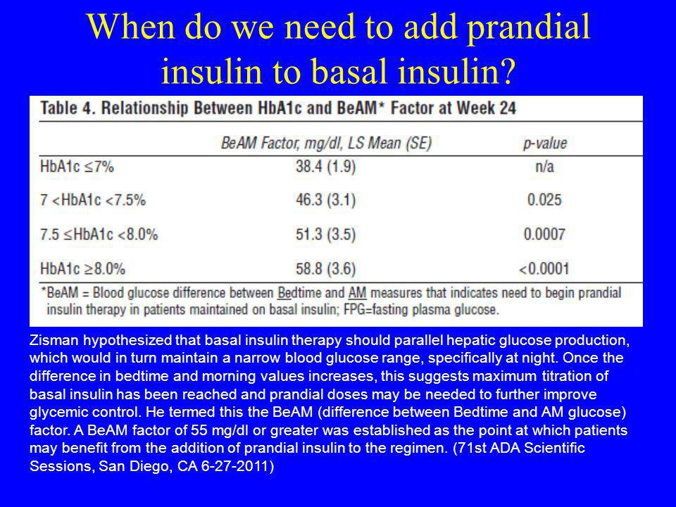 When do we need to add prandial insulin to basal insulin
