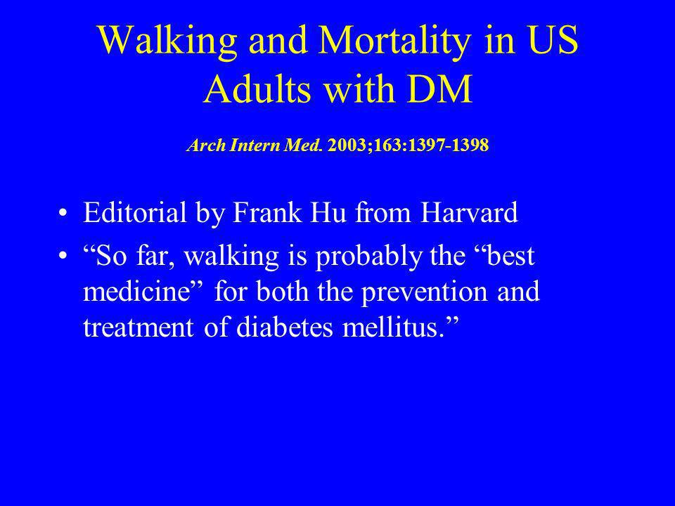 Walking and Mortality in US Adults with DM Arch Intern Med