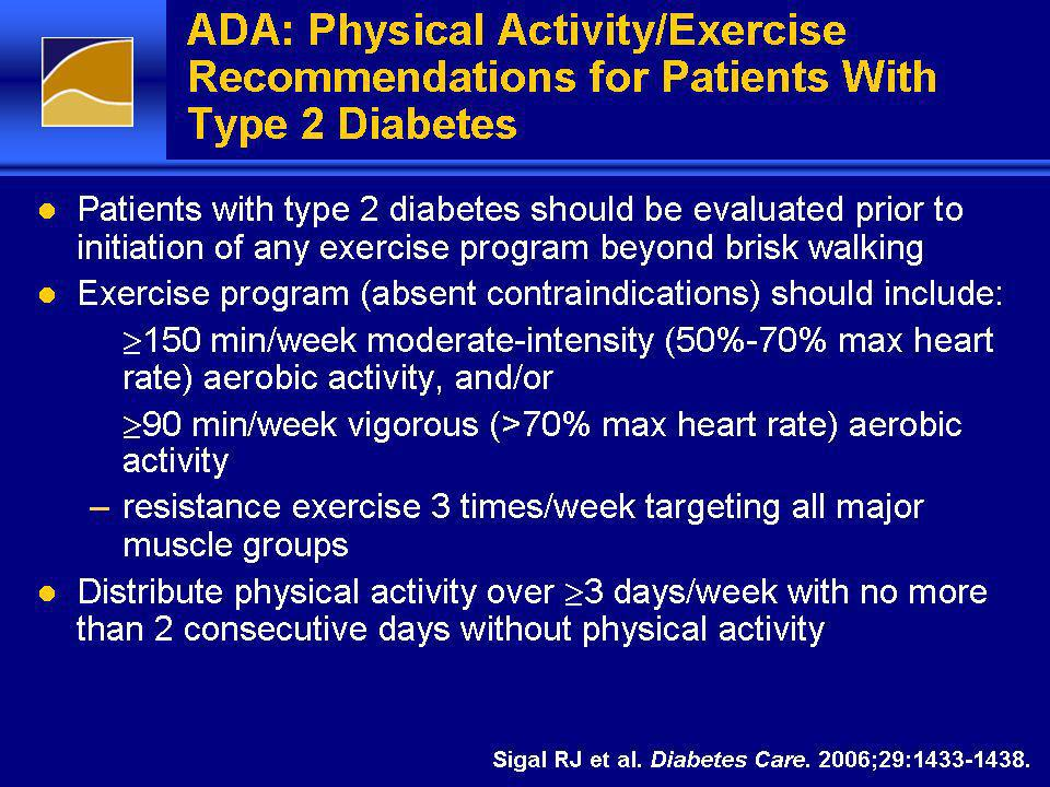 ADA: Physical Activity/Exercise Recommendations for Patients With Type 2 Diabetes