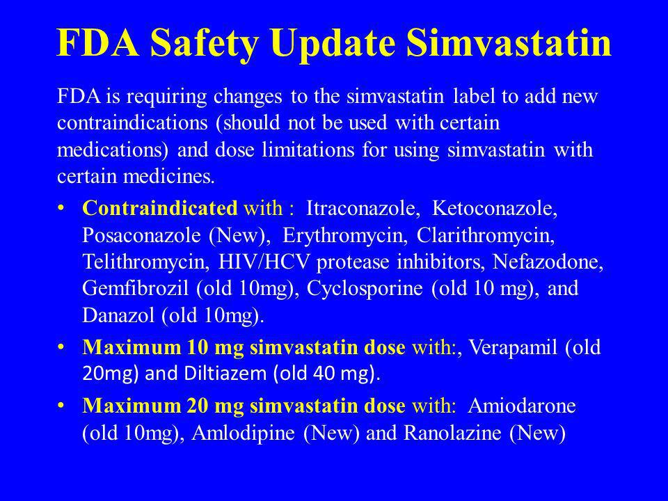 FDA Safety Update Simvastatin
