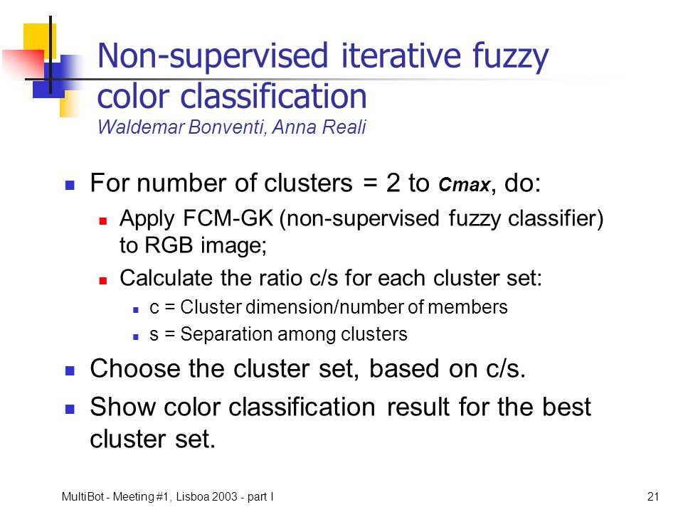 Non-supervised iterative fuzzy color classification