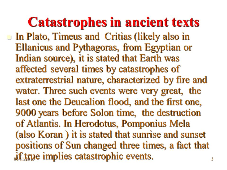 Catastrophes in ancient texts