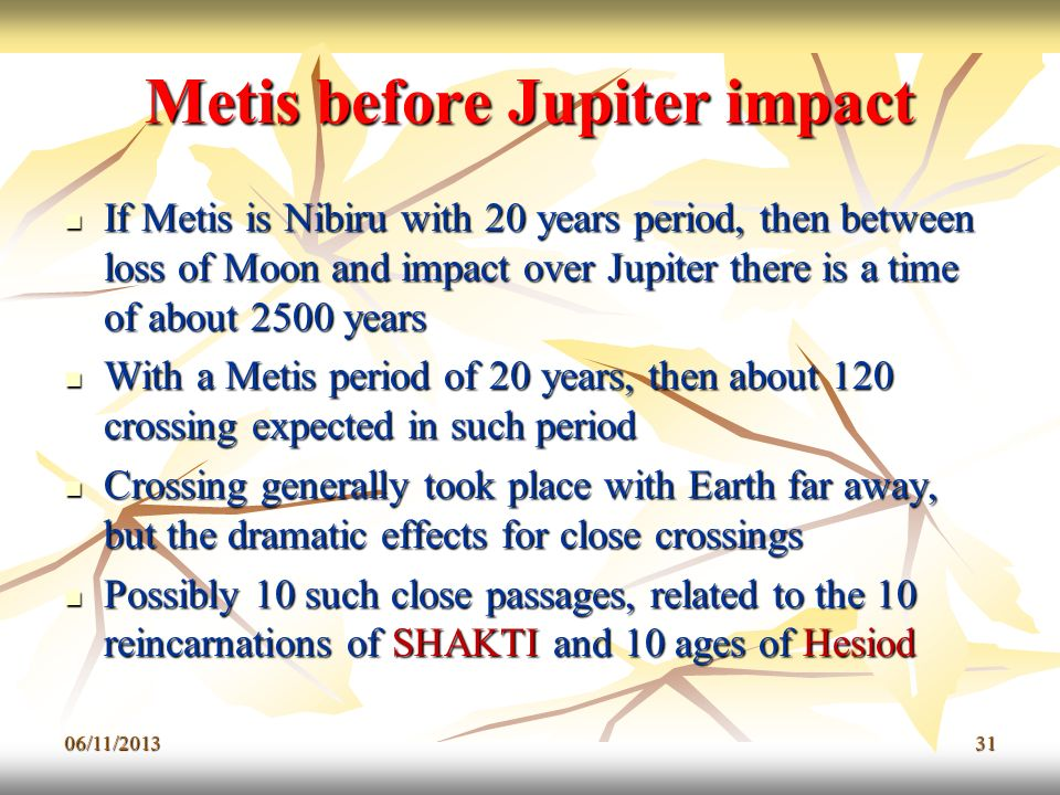 Metis before Jupiter impact
