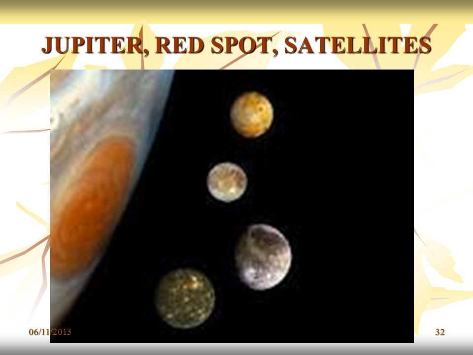 JUPITER, RED SPOT, SATELLITES