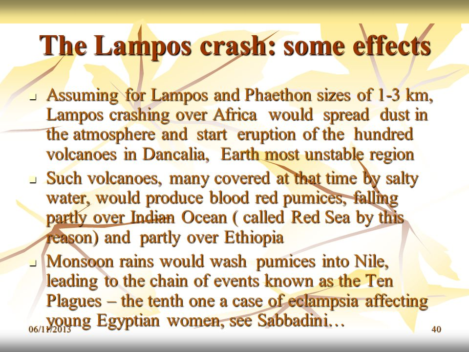 The Lampos crash: some effects