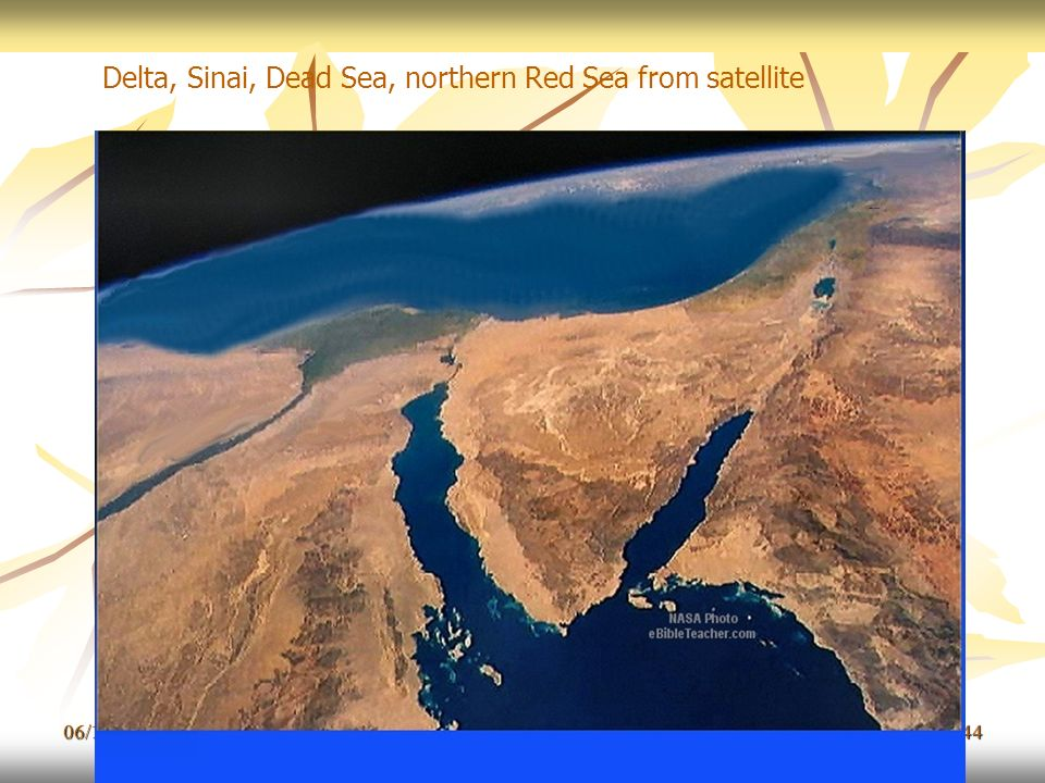 Delta, Sinai, Dead Sea, northern Red Sea from satellite