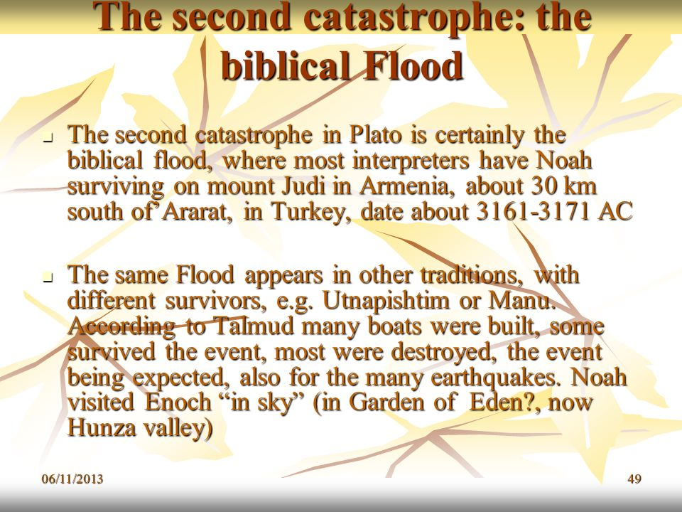 The second catastrophe: the biblical Flood