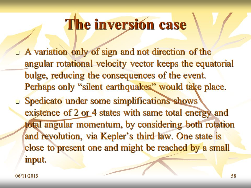 The inversion case