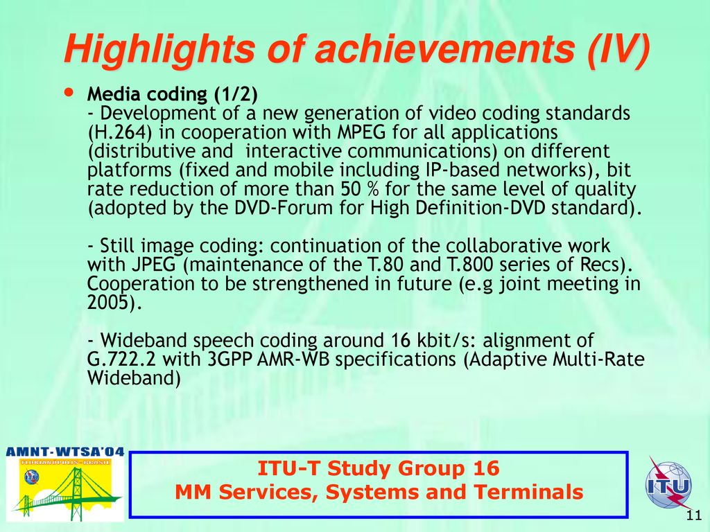 ITU-T Study Group 16 Multimedia Services, Systems and