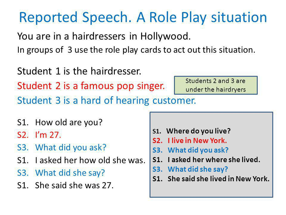Reported Speech. A Role Play situation