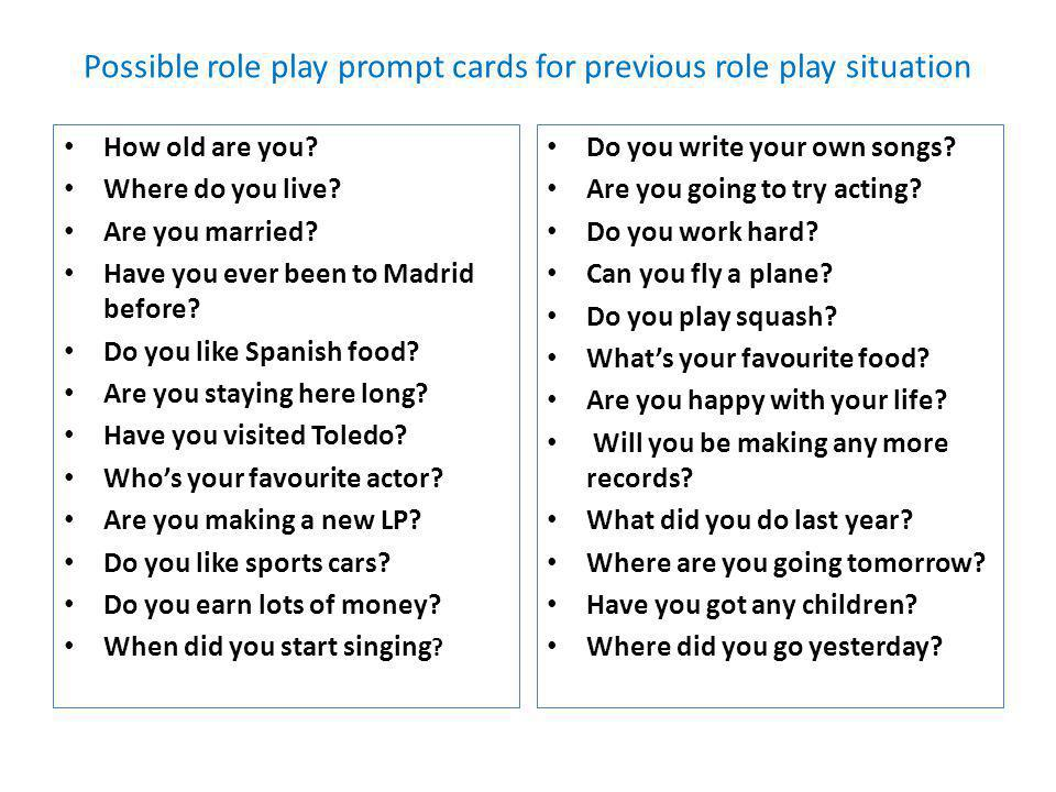 Possible role play prompt cards for previous role play situation