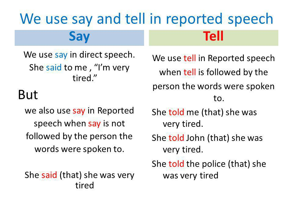 We use say and tell in reported speech