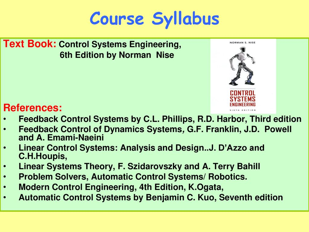 Feedback Control Systems Eele Ppt Download