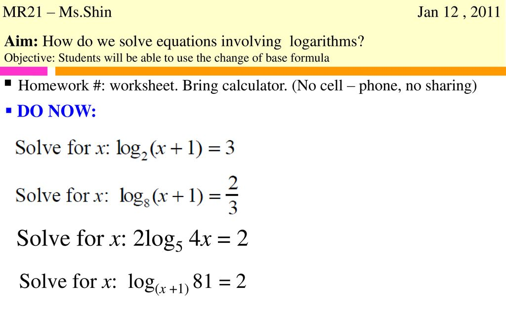 Topics Are: Solving Exponential Equations - Ppt Download