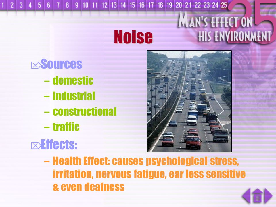 Noise Sources Effects: domestic industrial constructional traffic