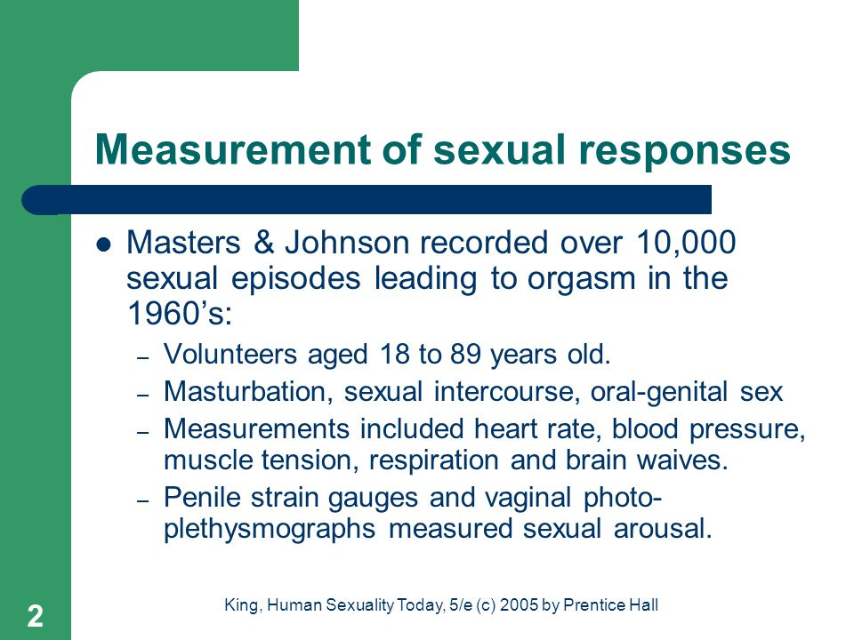 The sexual response cycle according to masters and johnson