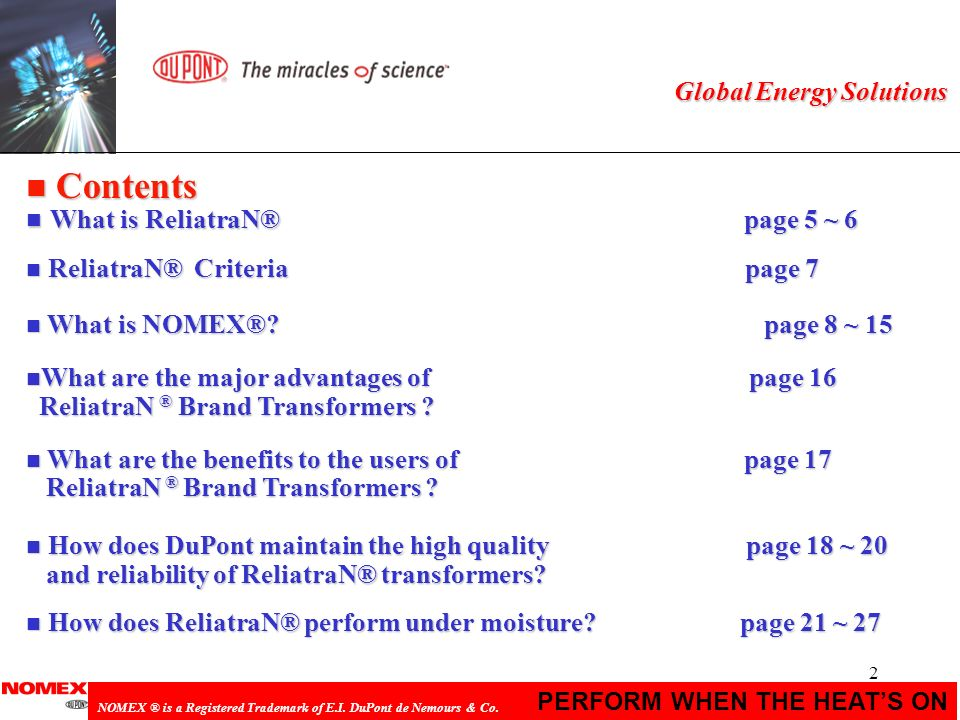 Contents What is ReliatraN® page 5 ~ 6 Global Energy Solutions