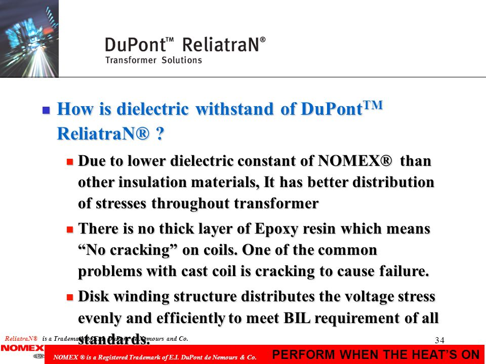 How is dielectric withstand of DuPontTM ReliatraN®
