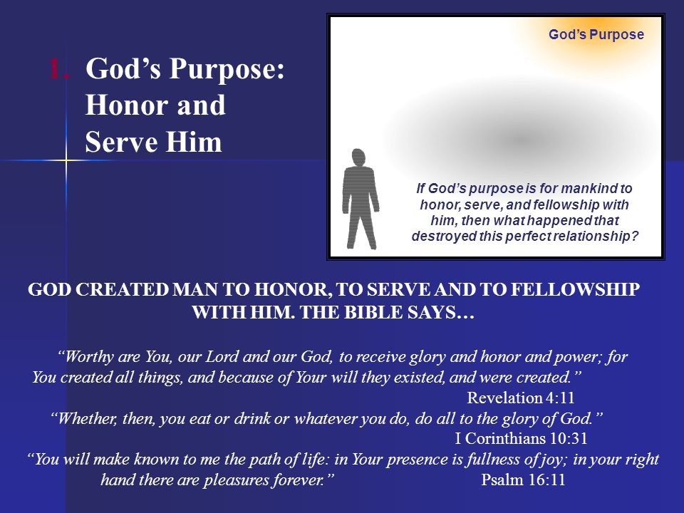 1. God's Purpose: Honor and Serve Him
