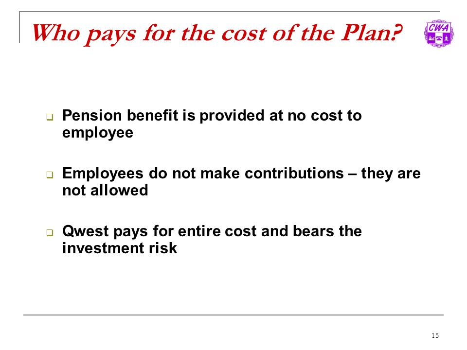 Who pays for the cost of the Plan