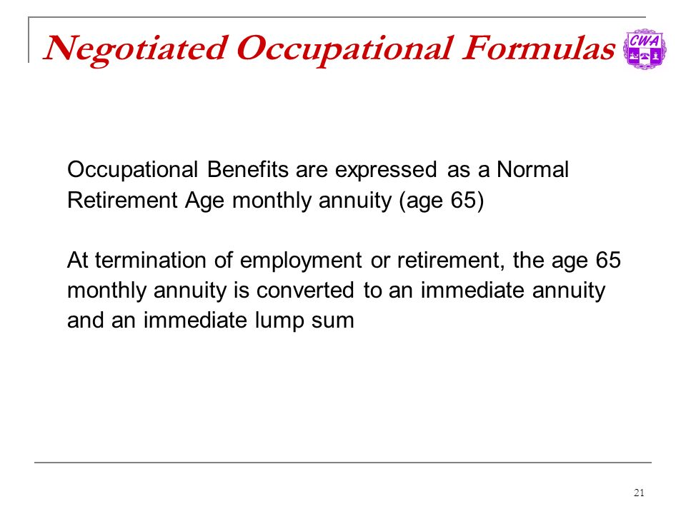 Negotiated Occupational Formulas