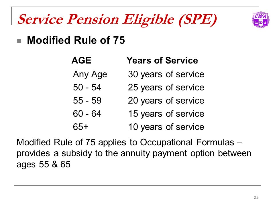 Service Pension Eligible (SPE)