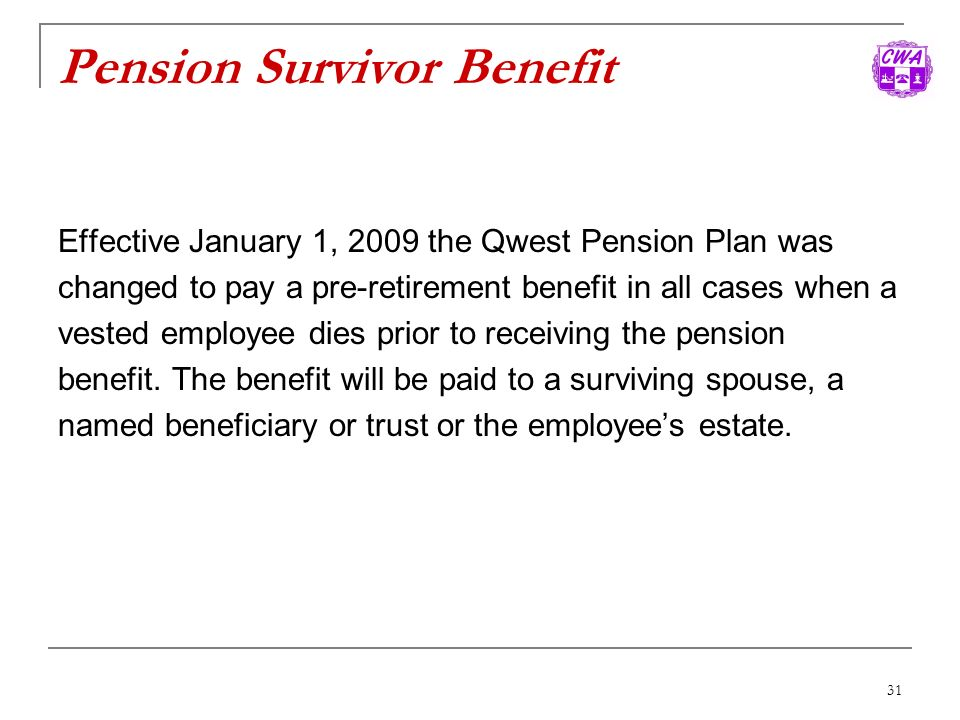Pension Survivor Benefit